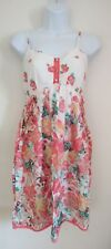 Ladies white/orange/red floral flower strappy summer dress size 10