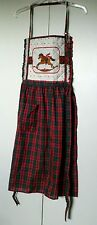 Vintage Bib Apron with Neck Strap and Tie Strings-Rocking Horse-Christmas- Rare