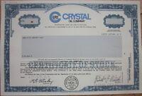 SPECIMEN Stock Certificate: 'Crystal Oil Company' - Dallas, Texas TX
