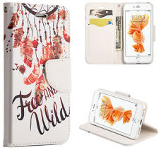 iPhone 7 / 8 - Feather Dreamcatcher Card ID Wallet Diary Pouch Holder Case Cover