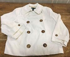 Lauren Ralph Womens White Boating Nautical Jacket Blazer Gold Buttons 3/4 Medium