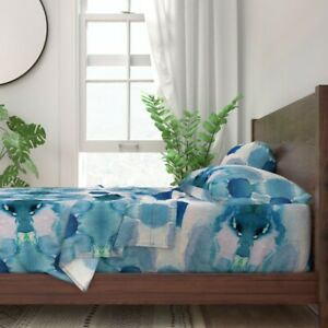 Nautical Dramatic Deep Blue Pale Sea 100% Cotton Sateen Sheet Set by Roostery