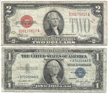 New Listing1928E $2 Red! 1935E $1 *Star* 2 Notes! Low Grade! Old Us Paper Money Currency!