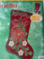 Bucilla Sequin  Poinsettia   Christmas Stocking Felt Kit
