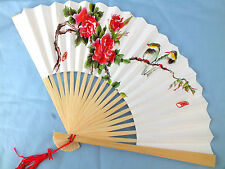 CHINESE RED PEONY BIRD WHITE PAPER HAND FAN JAPANESE BIRTHDAY WEDDING PARTY a10