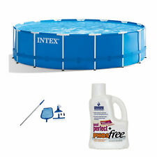Intex 15ft  00004000 x 48in Pool Set w/ Cleaning Kit & Natural Chemistry Maintenance Kit