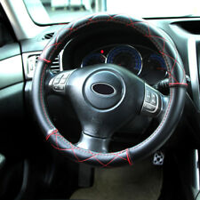 "14"" - 15"" Soft Leather Steering Wheel Cover - Black With Red Cross Stitching"