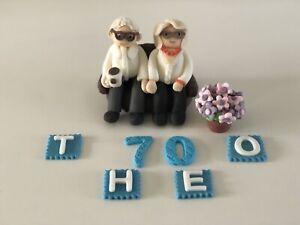 Elderly couple birthday personalised handmade edible cake topper flowerpot gran