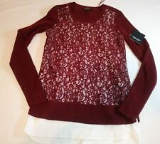 New Simply Vera Wang Lace Burgundy knit twofer sweater top Size XSmall XS