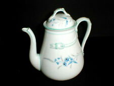 French Limoges Old Paris Porcelain Blue Floral Coffee Pot w Buckle  1880- Rare