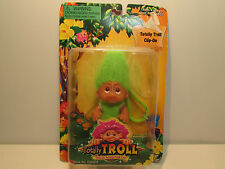 """2001 TOTALLY TROLL CLIP ON - 3"""" Dam Norfin Troll Doll - NEW IN PACKAGE - Green"""