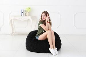 NEW Black Faux Fur Bean Bag Chairs