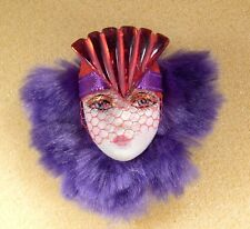 LADY HEAD woman FACE Porcelain-Look Resin brooch pin Flapper purple RED HAT veil