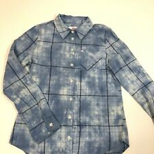 Justice Girl's Blue Tie Dye Plaid Collared Button Down Shirt Sz12 Cotton Viscose