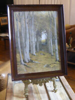 """Art Print JAMES T WATTS """"Nature's Cathedral"""" - Bakelite Frame - Trees in forest"""