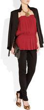 Catherine Malandrino Red Pleated Silk-blend Chiffon Tunic Top Sz 6 NWT $345