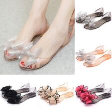 Women's Lady Summer Crystal Jelly Flower Shoes Sandals Flat Clear Shoes