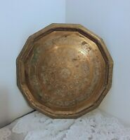 Vintage Large Ornate Brass Serving Tray Wall Hanging Table Top 18 1/2'' Heavy