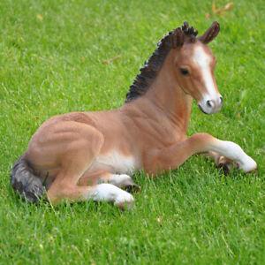 Gartenfigur Dekofigur Pferd Fohlen Pony Skulptur Tier Deko Figur braun frostfest