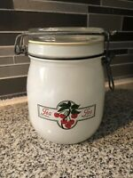 Vintage Carlton Glass Canister Jar Bail Lock 3/4 Liter USA Cherries Tea