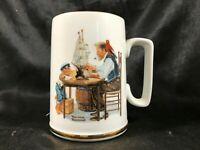 Vintage 1985 Norman Rockwell For a Good Boy Coffee Mug Gold Trim