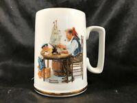 Vintage 1985 Norman Rockwell For a Good Boy Coffee Mug Gold Trim