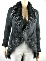 SIONI Shawl Collar Open Front Knit Cardigan Duster Coat S Long Sleeve Black