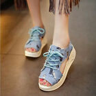 New Women's Platform Wedge Denim Summer Sandals Lace Up Peep Toe Hollow Shoes