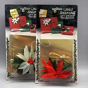 1980s Stribbons Christmas Gift Decor, 2, Red White Poinsettias, Vintage Holiday