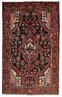 Vintage Tribal Oriental Hamadan Rug, 5'x8', Black/Red, Hand-Knotted Wool Pile