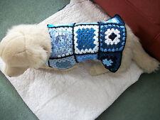 "HAND CROCHETED GRANNY SQUARE,14"",MEDIUM DOG COAT BLUES AND WHITE,ACRYLIC"