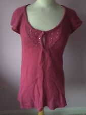 White Stuff Ladies Short Sleeve Jumper/Tunic With Alpaca Size 10 Good Condition