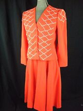 PAULINE TRIGERE Vtg 70s Orange Red/White Beads Jacket & Skirt-Bust 37/Waist 29/M