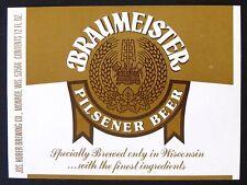 Jos. Huber Brewing Co  BRAUMEISTER PILSENER BEER label WI 12oz Var. #3