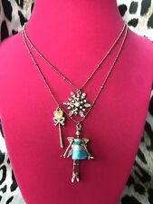 Fairy Ballerina Snowflake Wand Necklace Betsey Johnson Vintage Snow Angel Winter