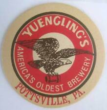 YUENGLING'S Beer COASTER, Mat with EAGLE w/ BARREL, Pottsville PENNSYLVANIA 1989