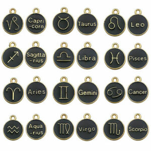 black zodiac signs Enamel charms pendants for jewellery making pack of 12 pieces