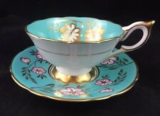 ROYAL STAFFORD Tea Cup & Saucer Aqua Blue & Gold Leaf Pattern Teacup, 8512