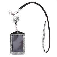 White Rhinestone Lanyard with Retractable Reel Card ID Badge Holder