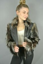 Women's Leather Jacket Real Fox Fur Sleeves/Collar Buckles Military S Retro 227