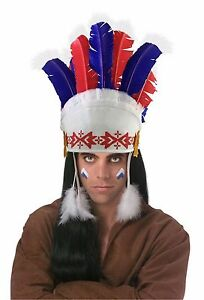 Native American Indian Feather Headdress Head Band Dress Feathers Red White Blue