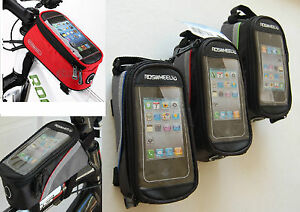 Cycling Bike Frame Pannier Front Tube Touch Screen Cell Phone Bag Green Blue Red
