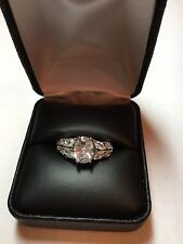 Oval marquis cubic zirconia silver tone engagement promise ring size 8 New Nwt