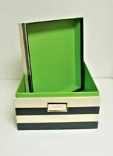 Kate Spade Navy Striped with Green Interior Small Size Storage Box New Tags