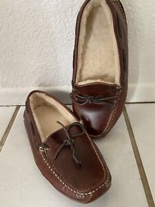 Mens LL Bean Leather Double Sole Slippers Shearling Lined Size 10
