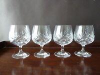 4 Bohemia Crystal Brandy Glasses, Not Signed, h12cm