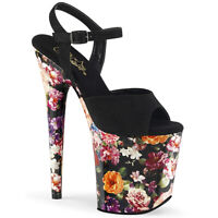 Pleaser FLAMINGO-809WR Womens Black Faux Suede Flower Print Wrap Platform Sandal