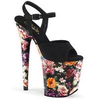 Pleaser FLAMINGO-809WR Womens Black Faux Suede Flower Print Wrap Platform Sandal