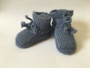 Baby Boys Girls Booties 1 Pair Knitted Plain Booties NB-3 Months Approx 1118