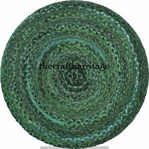 Indian Round Braided Floor Rug Handmade Cotton Rug Floor Mat Home Decor 5 Feet